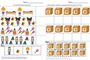 Back to School Alphabet Math Cut and Paste Special Education Early Childhood