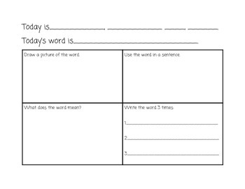 Getting Ready for 2nd Grade Vocabulary Calendar