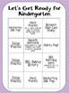 Getting Ready for Kindergarten- Summer Homework Packet