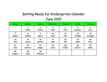 Getting Ready for Kindergarten Vocabulary Calendar 2015