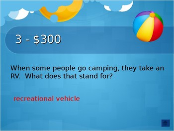 Getting Ready for Summer! Interactive Trivia Jeopardy Game (3rd-6th grades)