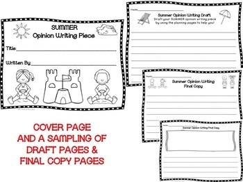 Getting Ready for Summer Opinion Writing Piece Pack--Common Core Aligned