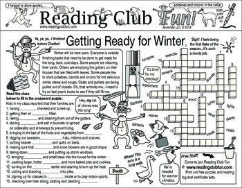 Getting Ready for Winter Two-Page Activity Set
