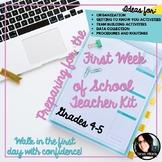 Back to School  First Week of School Teacher Starter Kit Grades 4-5