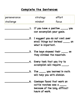 Getting Started - Mindset Vocabulary