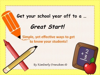 Getting Started- the first weeks of school