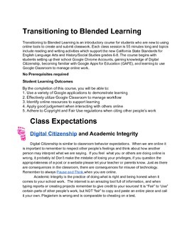 Getting Started with Blended Learning:  8 Week Syllabus