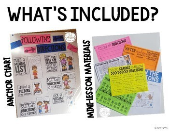 Getting Students to Follow Directions: Anchor Chart and Mini-lesson Materials