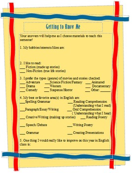 Getting To Know Me - English