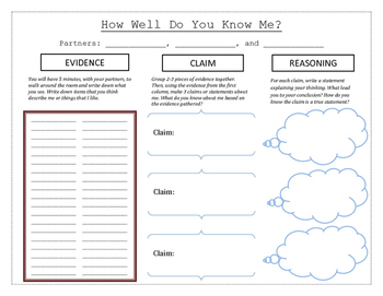 Getting To Know Me with Claim, Evidence and Reasoning