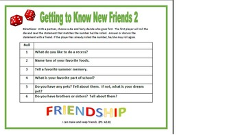 Getting To Know New Friends Roll-A-Die 1 and 2