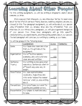 Getting To Know You...Biographic Sketch Free Rubric Sample