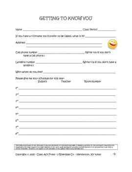 First Day of School: Getting To Know You Questionnaire (4 pages, FREE!)