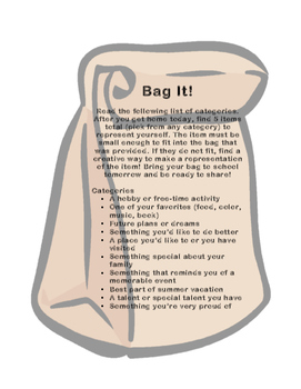 Getting To Know You Activity- Bag It
