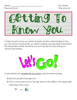 Getting To Know You Activity For Resource Rooms