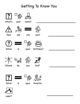 Getting To Know You: Adapted Worksheet