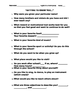 Getting To Know You: An Introductory Activity