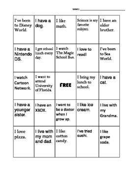 Getting To Know You Bingo