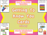 Getting To Know You Cards: Primary Level