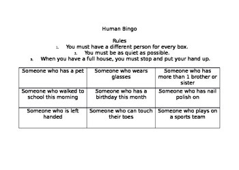 Getting To Know You: Human Bingo