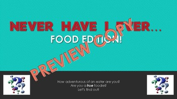 """""""Never Ever"""": Food Edition Game Getting To Know You Activity Back to School"""