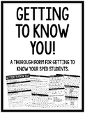 Getting To Know You {New Student Form for Special Education}
