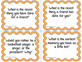 Getting To Know You Partner Discussion Task Cards