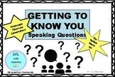 Getting To Know You Speaking Questions - INTERMEDIATE + NO PREP!