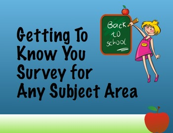 Getting To Know You Survey - All Areas