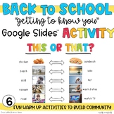 Getting To Know You   This or That Activity   Google Slides   Distance learning