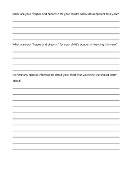 Getting To Know Your Child Letter to Parents