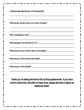 Getting To Know Your Child- a Questionnaire for Parents