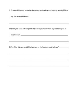 Getting To Know Your Child/Parent Survey