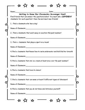 Getting To Know Your  Classmates Scavenger Hunt