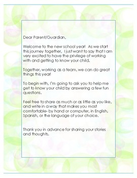 Getting To Know Your Students With Parents' Help