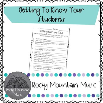 Getting To Know Your Students Worksheet