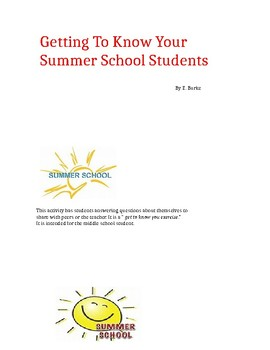 Getting To Know Your Summer School Students.