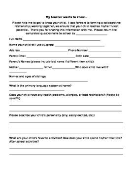 Getting To know You: Parent Survey about Child