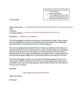 Getting a Job - Cover Letter Format Guide