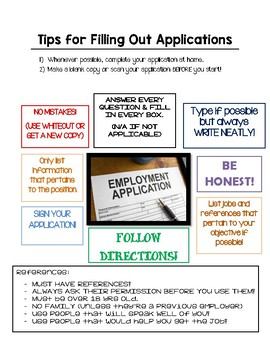 Getting a Job - Tips for Filling Out Applications