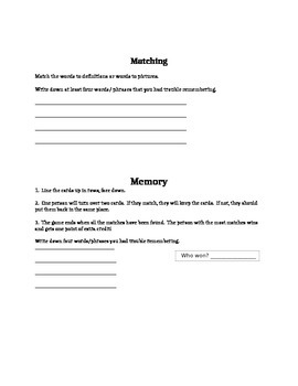 Getting the Constitution Memory Game or Sort
