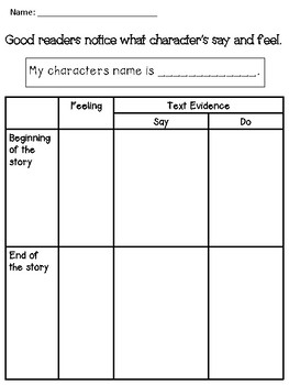 Getting to Know Characters Worksheets