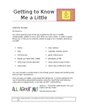 Back to School - 1st Week Activity - All About Me Letter to Teacher