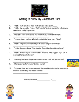 Getting to Know My Classroom Hunt