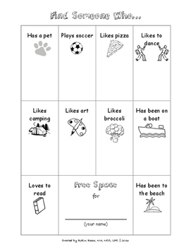 Getting to Know Others Bingo Game