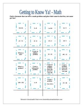 Getting to Know YA! - Math