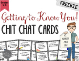 Getting to Know YOU!  Back to School Chit Chat Cards FREEBIE