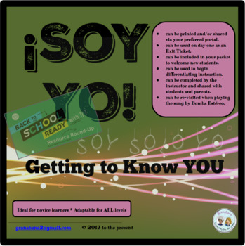 (No Prep) Ice Breaker Infographic Getting to Know YOU: ¡Soy YO!