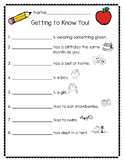 Back to school activity-Getting to Know You!