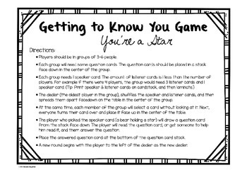 "Back to School ""Getting to Know You Game"""